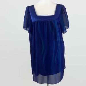 Lane Bryant Blue Square Neck Blouse Size 14/16